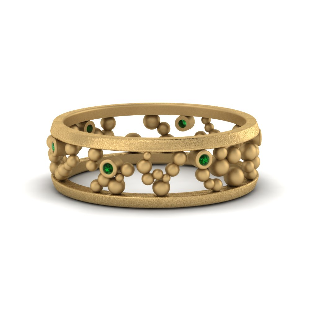 Beaded Emerald Eternity Band