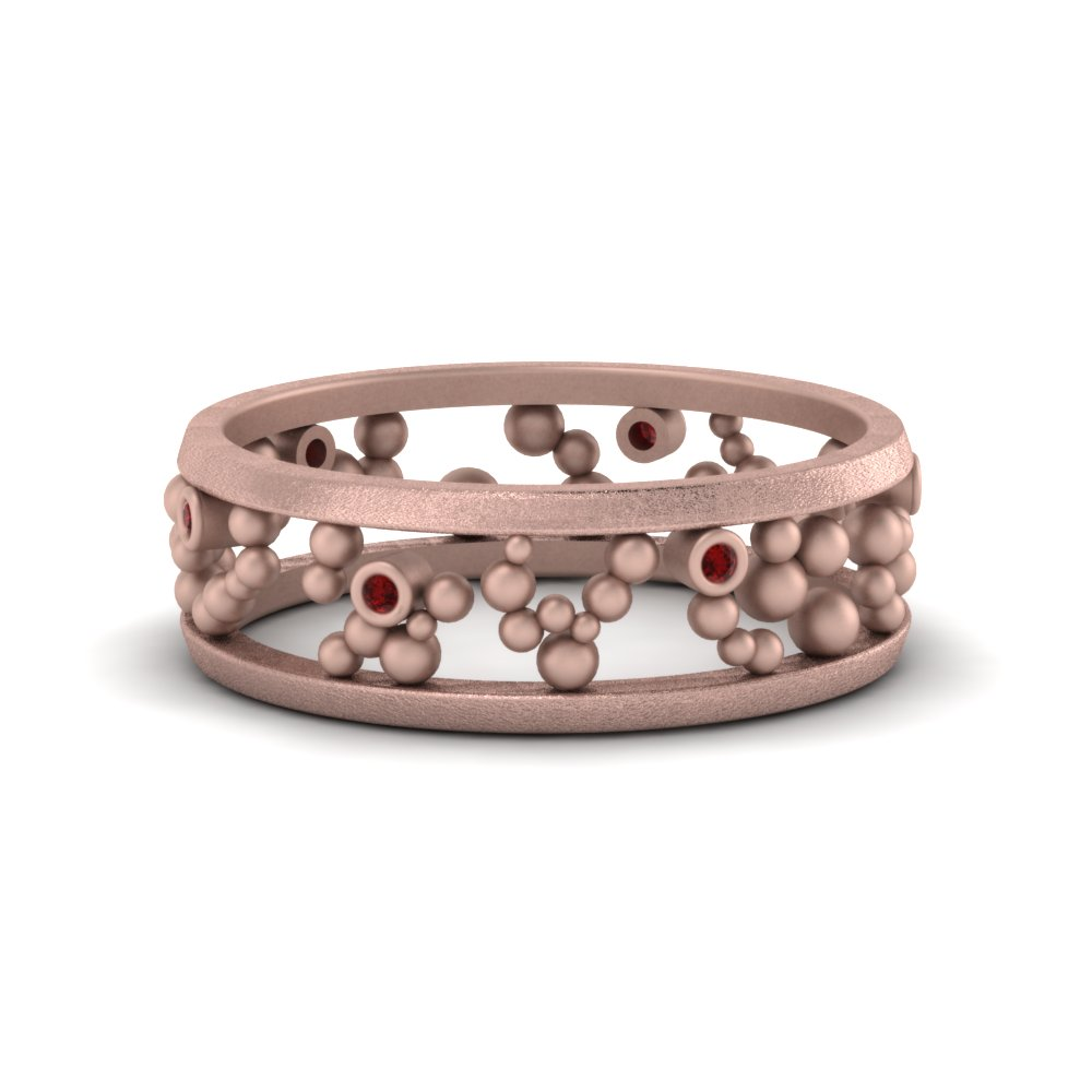 asymmetrical beaded band with ruby in FDEWB8460BGRUDR NL RG