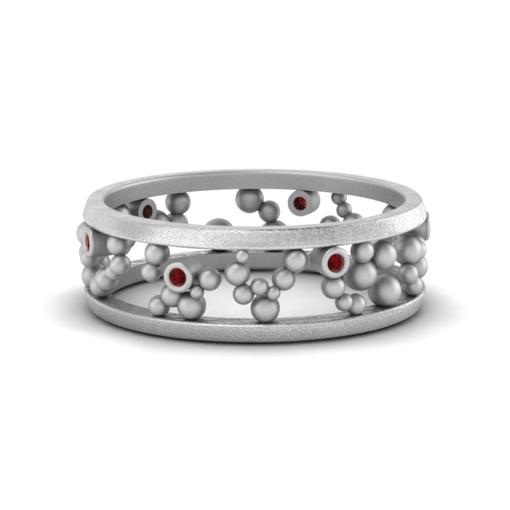 Bezel Set Round Ruby Band