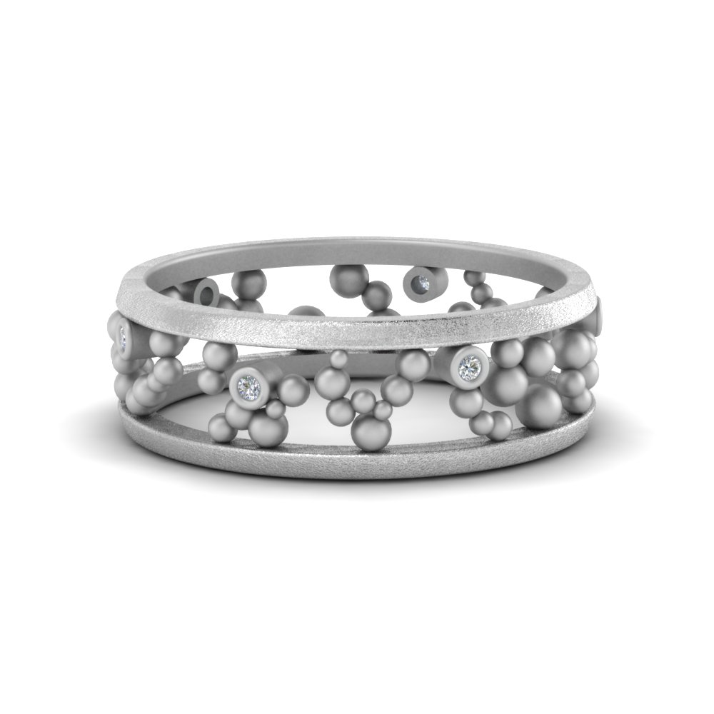 Bezel Set Beaded Diamond Band
