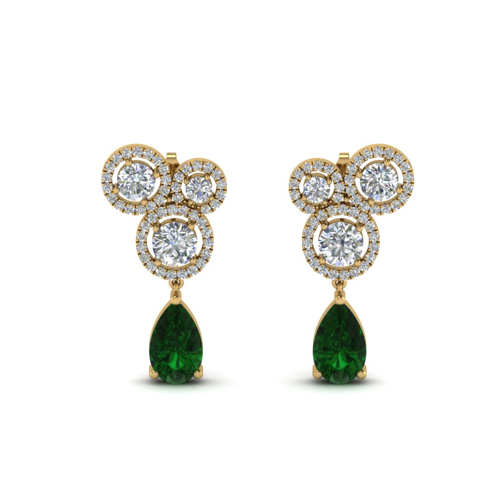 Asymmetrical Halo Emerald Earring