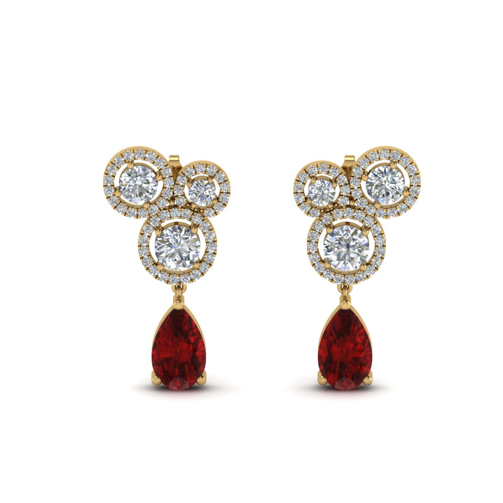 Asymmetry Halo Ruby Diamond Earring