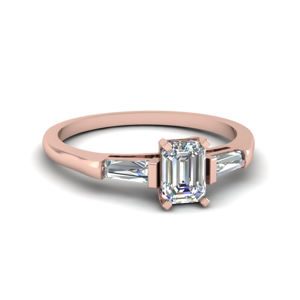 Emerald Cut Diamond Ring Pink Gold