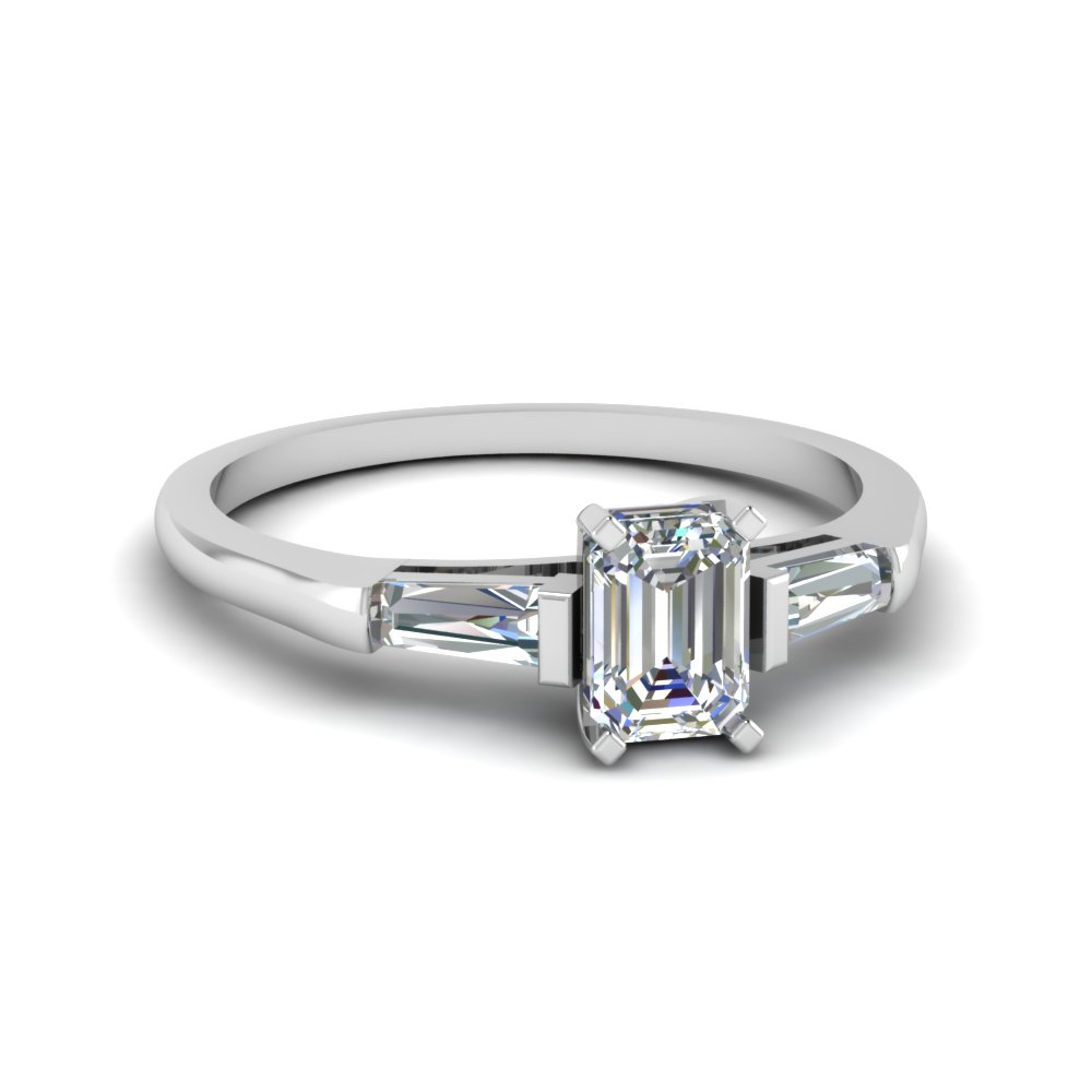Baguette And Emerald Cut Diamond 3 Stone Engagement Ring In 950 Platinum