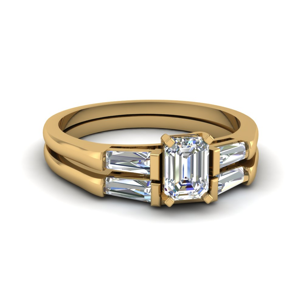 Baguette And Emerald Cut Diamond Wedding Ring Set In 14k Yellow Gold