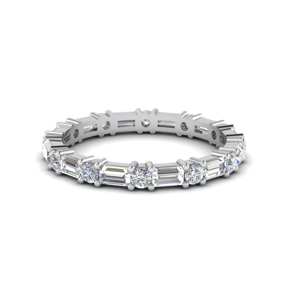 1.25 ct. baguette and round diamond eternity band in 14K white gold FDEWB318B NL WG