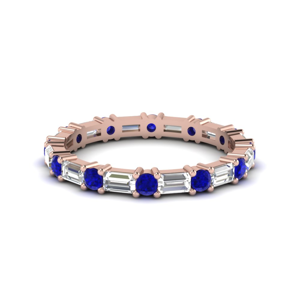 1.25 ct. baguette and round diamond eternity band with sapphire in 14K rose gold FDEWB318BGSABL NL RG