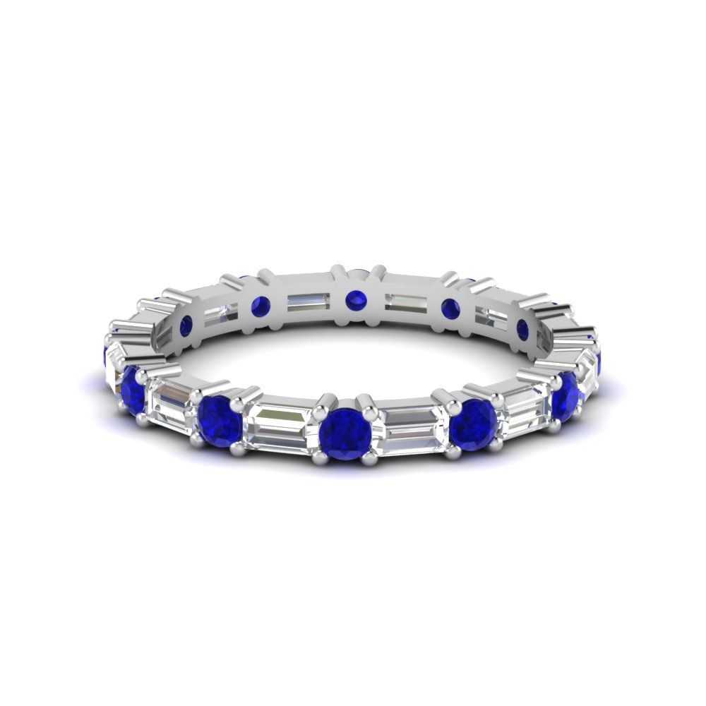 Baguette And Sapphire Eternity Band