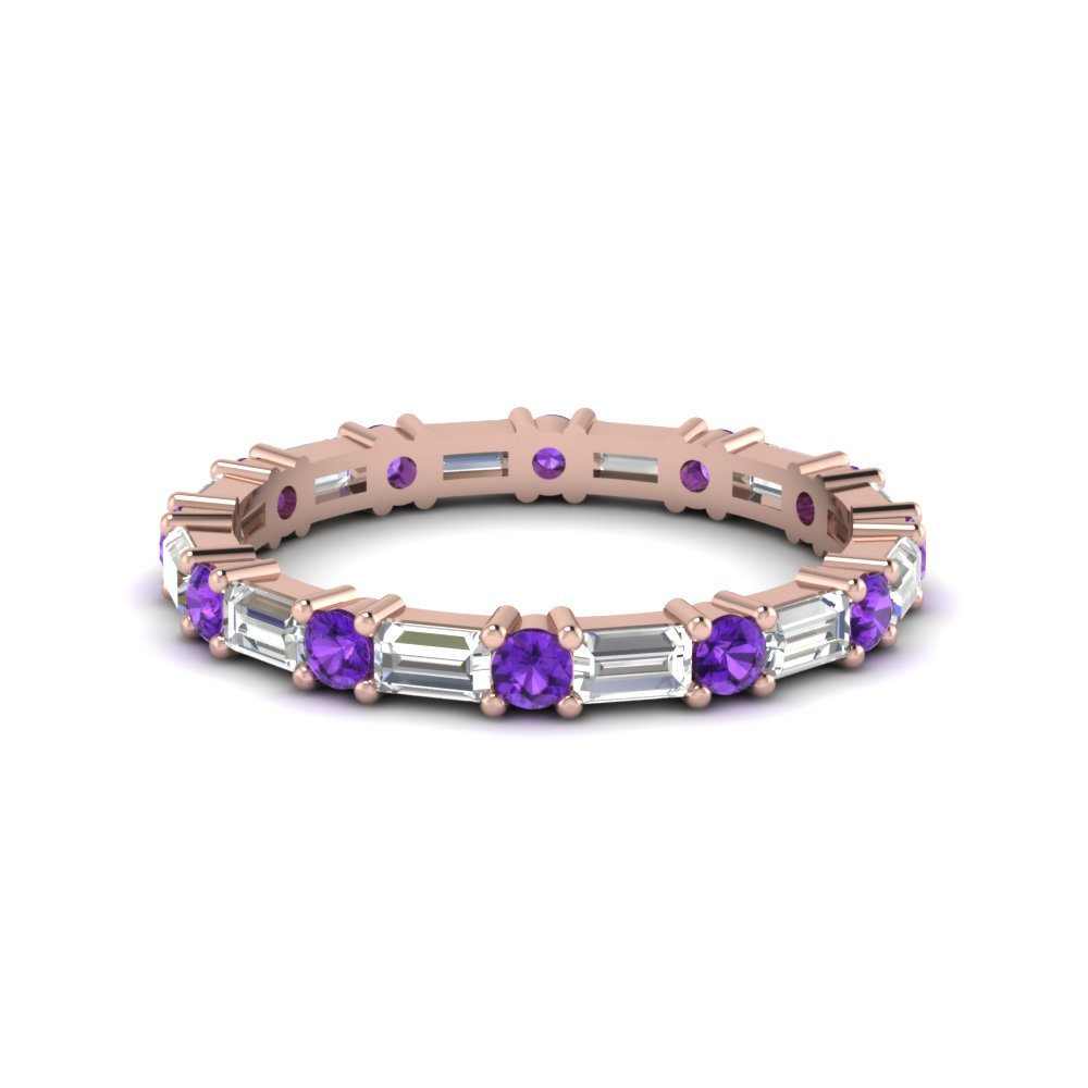 1.25 ct. baguette and round diamond eternity band with violet topaz in 14K rose gold FDEWB318BGVITO NL RG