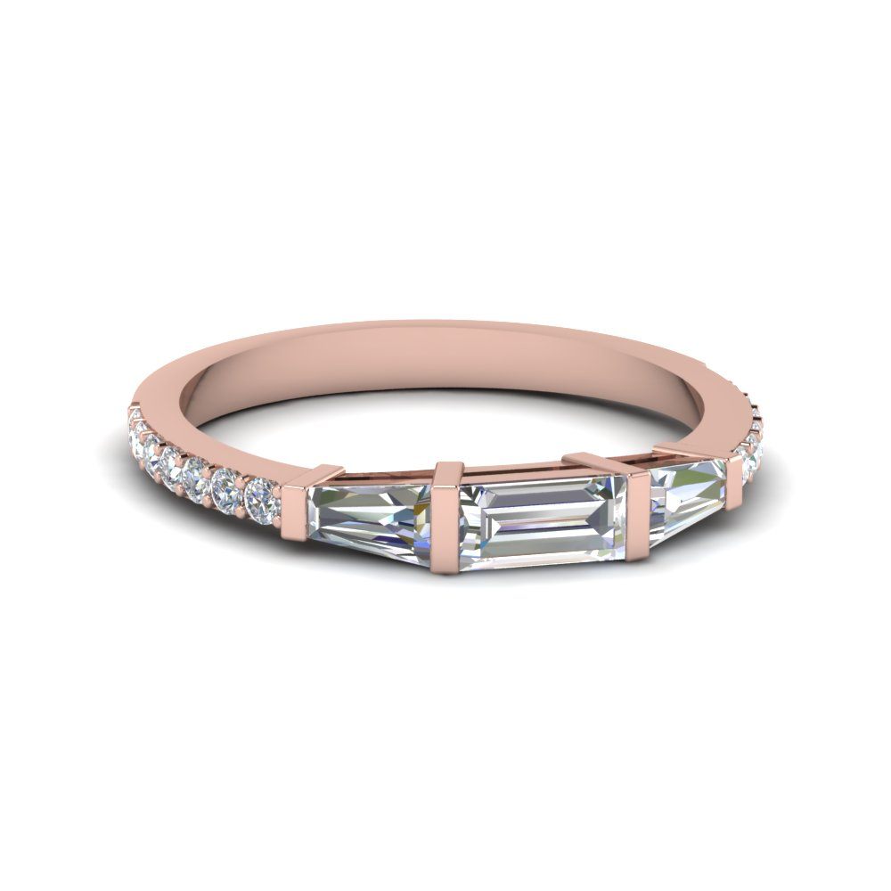 baguette and round diamond thin wedding women band in 14K rose gold FDENS1099B NL RG