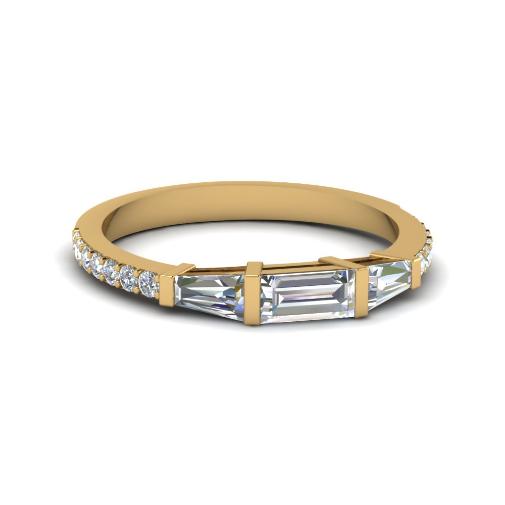 baguette and round diamond thin wedding women band in 14K yellow gold FDENS1099B NL YG