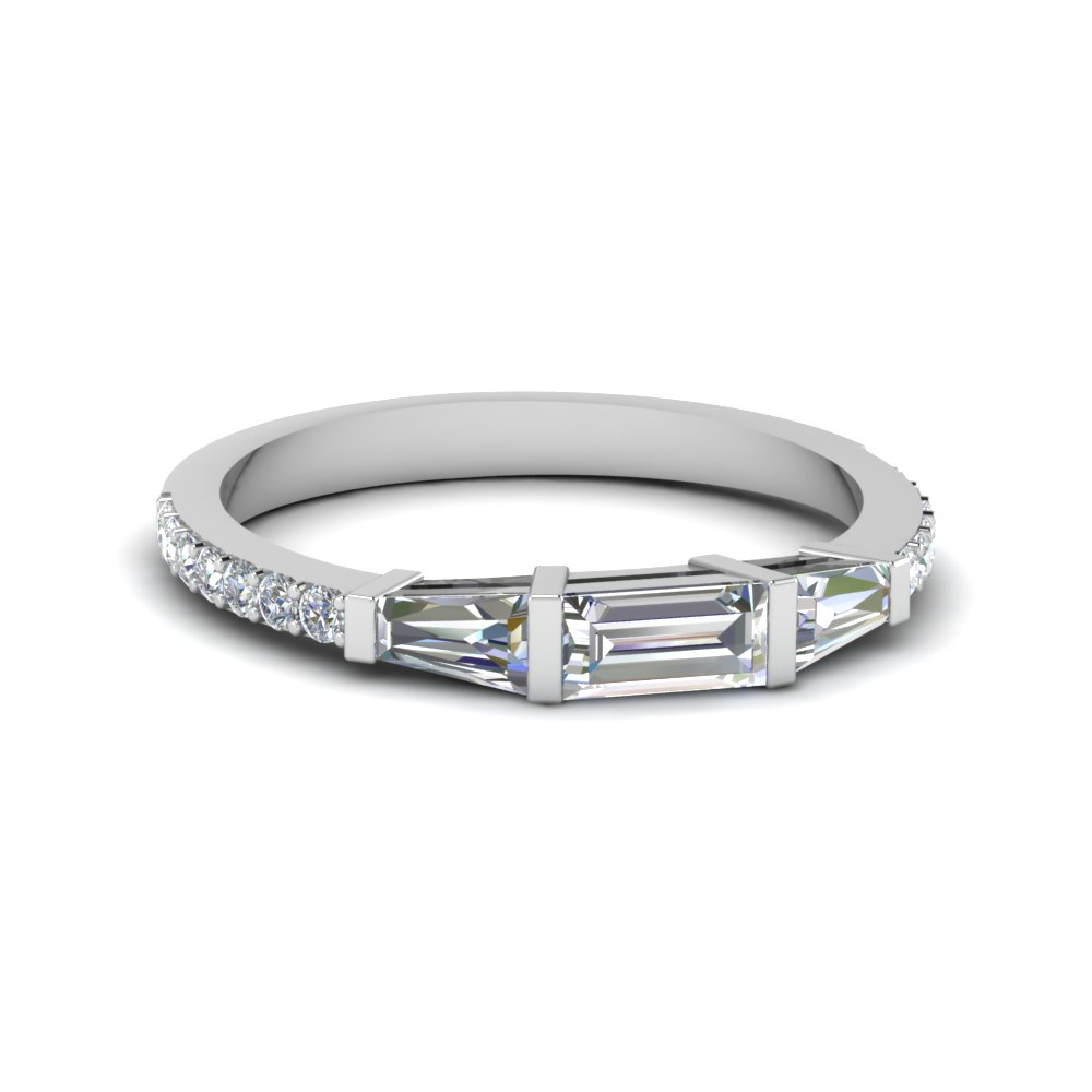4cff66382201 Baguette And Round Diamond Thin Wedding Women Band In 18K White Gold ...