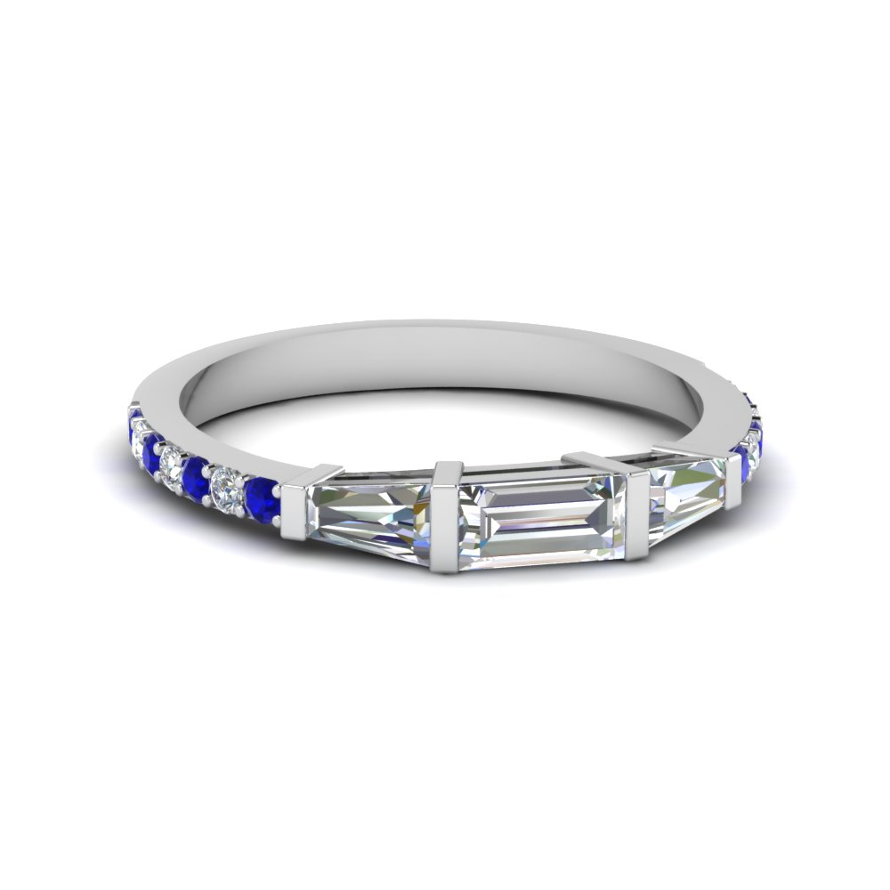 baguette and round diamond thin wedding women band with sapphire in FDENS1099BGSABL NL WG