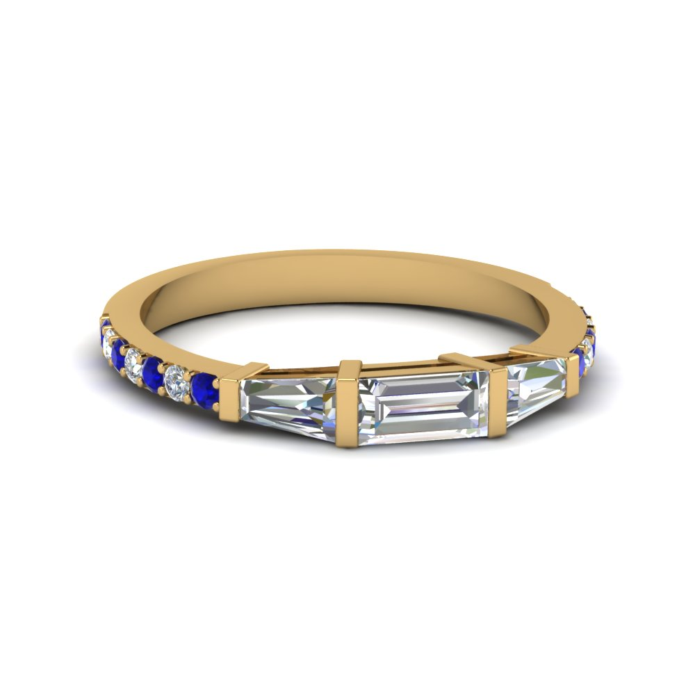 baguette and round diamond thin wedding women band with sapphire in FDENS1099BGSABL NL YG