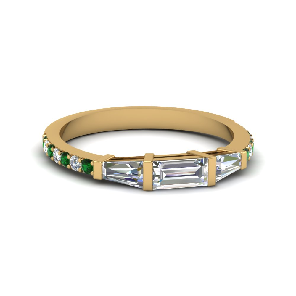 baguette and round diamond thin wedding women band with emerald in FDENS1099BGEMGR NL YG