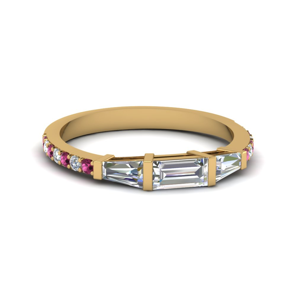 baguette and round diamond thin wedding women band with pink sapphire in FDENS1099BGSADRPI NL YG