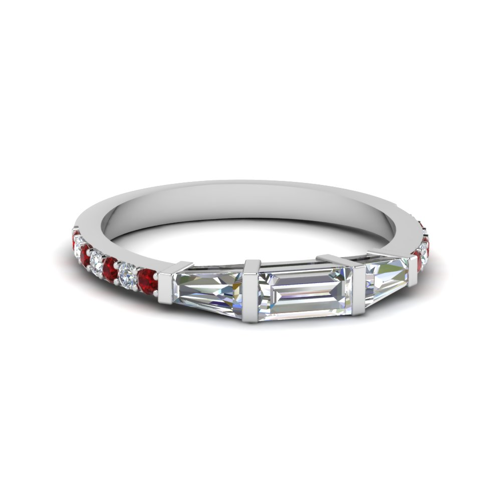 baguette and round diamond thin wedding women band with ruby in FDENS1099BGRUDR NL WG