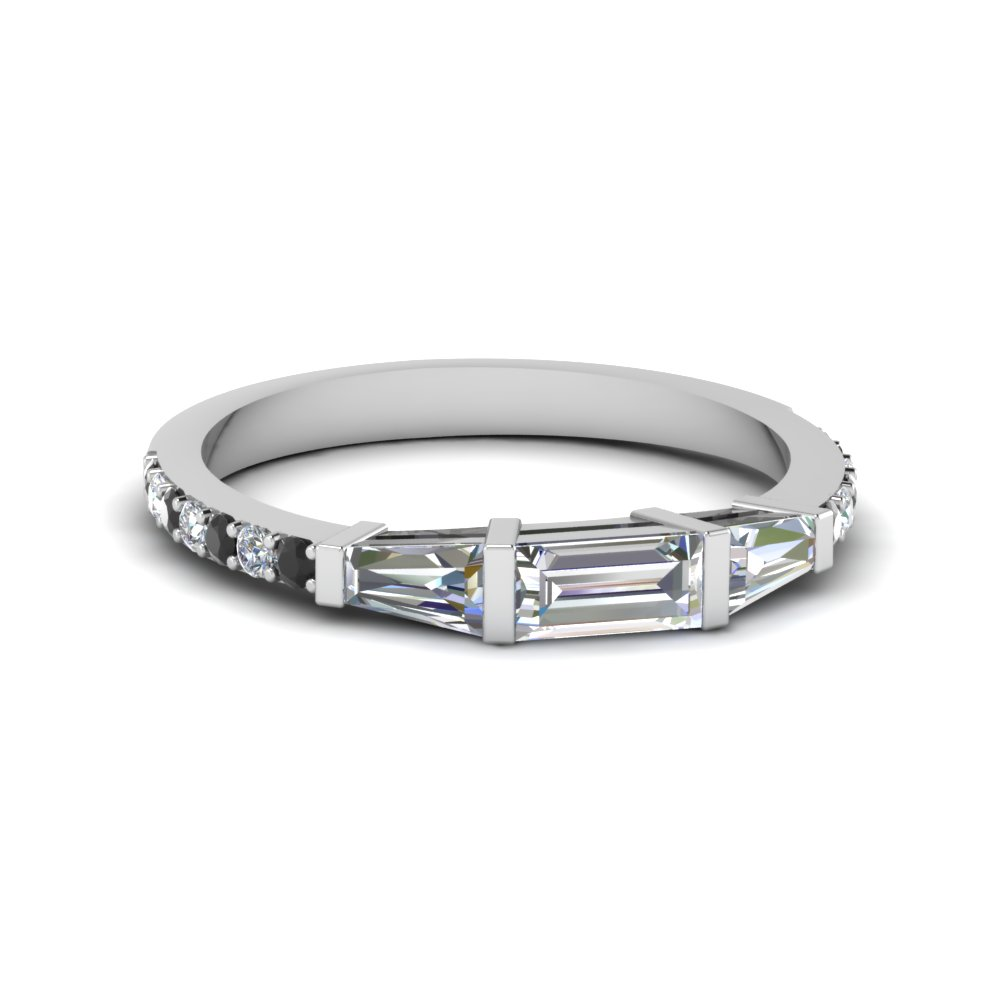Thin Round Baguette Diamond Band