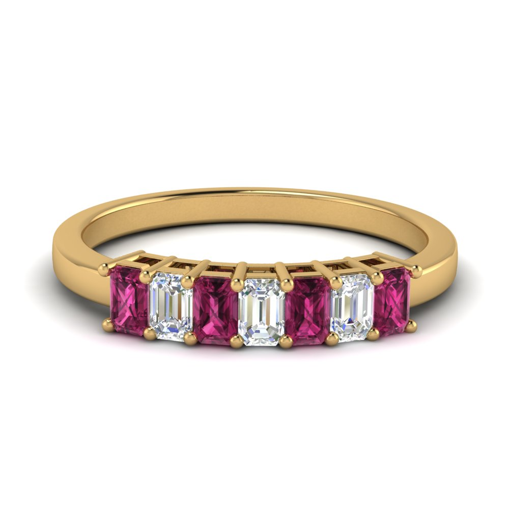 baguette-anniversary-diamond-band-0.75-carat-with-pink-sapphire-in-FD9294SBGSADRPI-NL-YG