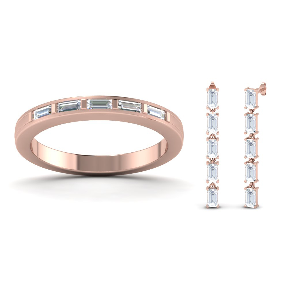 Baguette Diamond Band With Earring