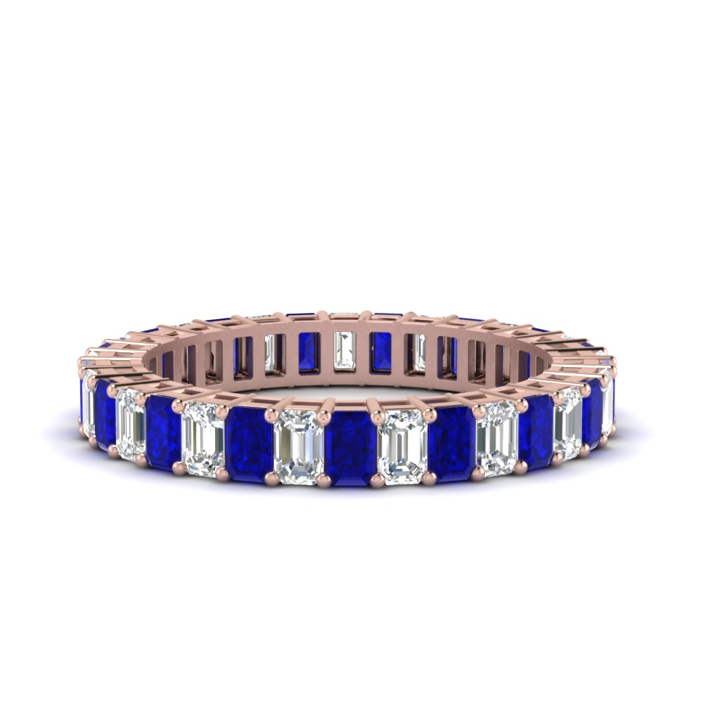 baguette diamond and sapphire eternity band in 14K rose gold FDEWB9293EMGSABL NL RG