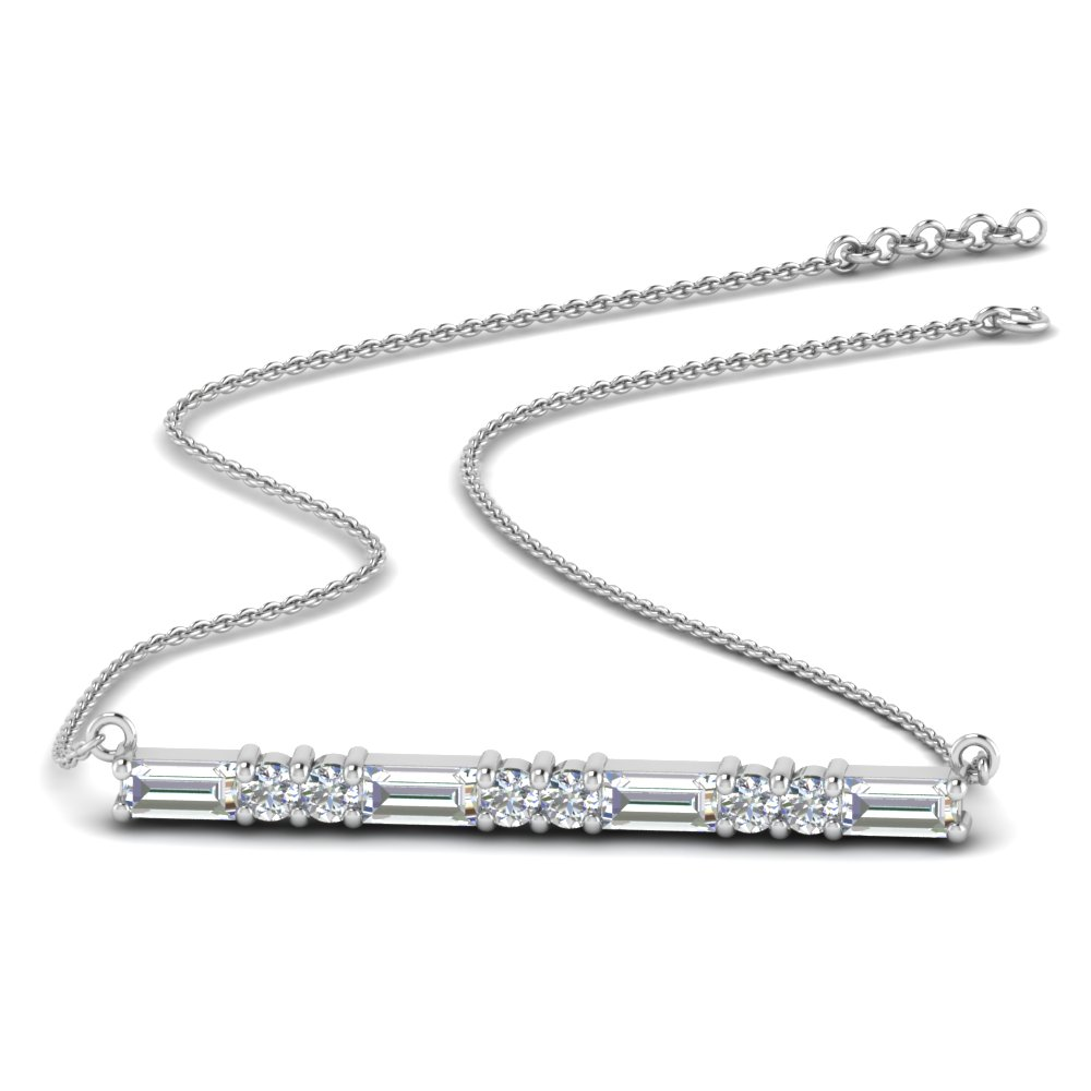 baguette diamond bar necklace in 14K white gold FDPD86790 NL WG