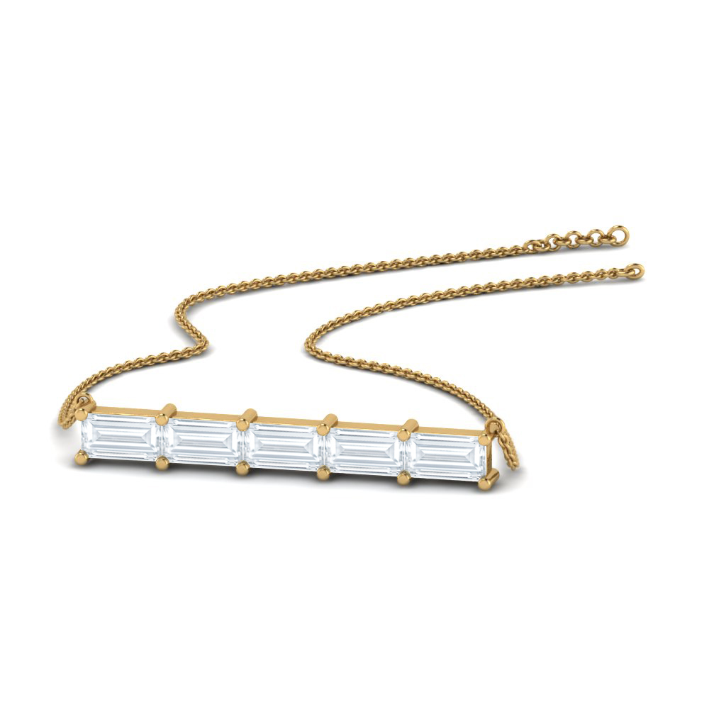 baguette diamond horizontal pendant in 14K yellow gold FDPD8421NL YG