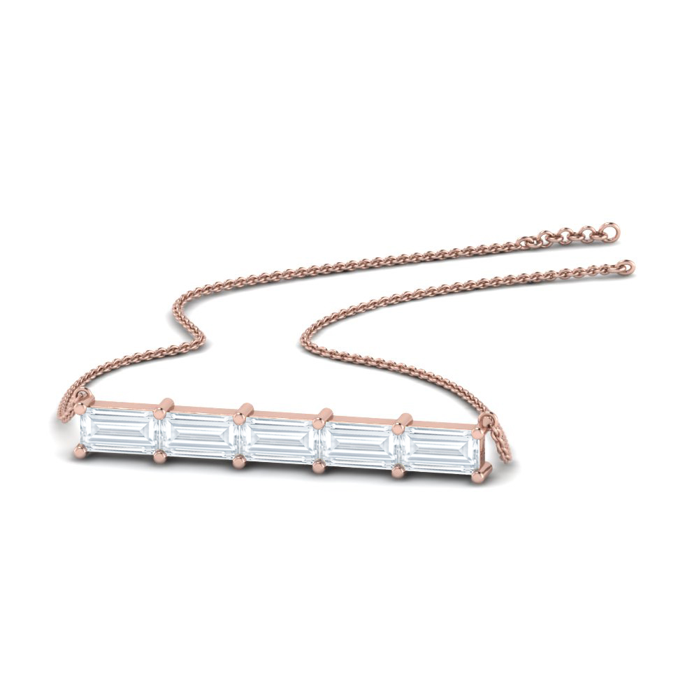 Horizontal Baguette Diamond Necklace