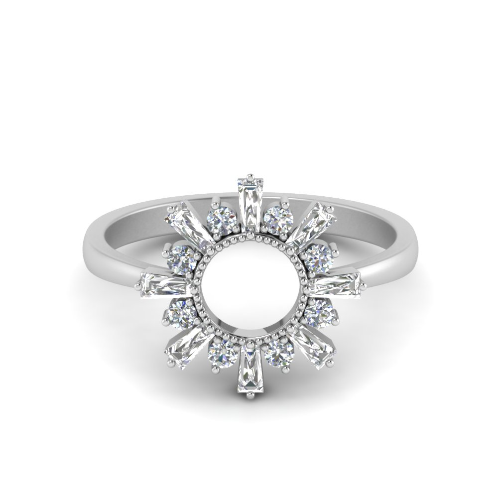 White Gold Sunrays Design Ring