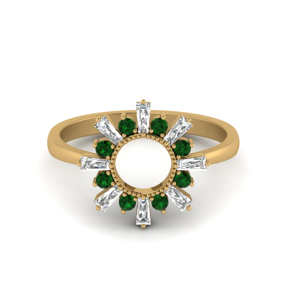 Sunrays Design Emerald Ring