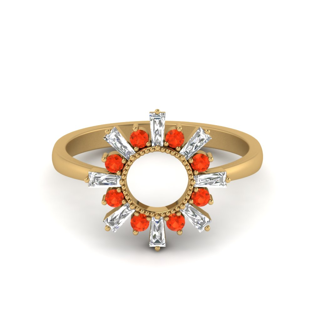 Orange Topaz Nature Themed Ring