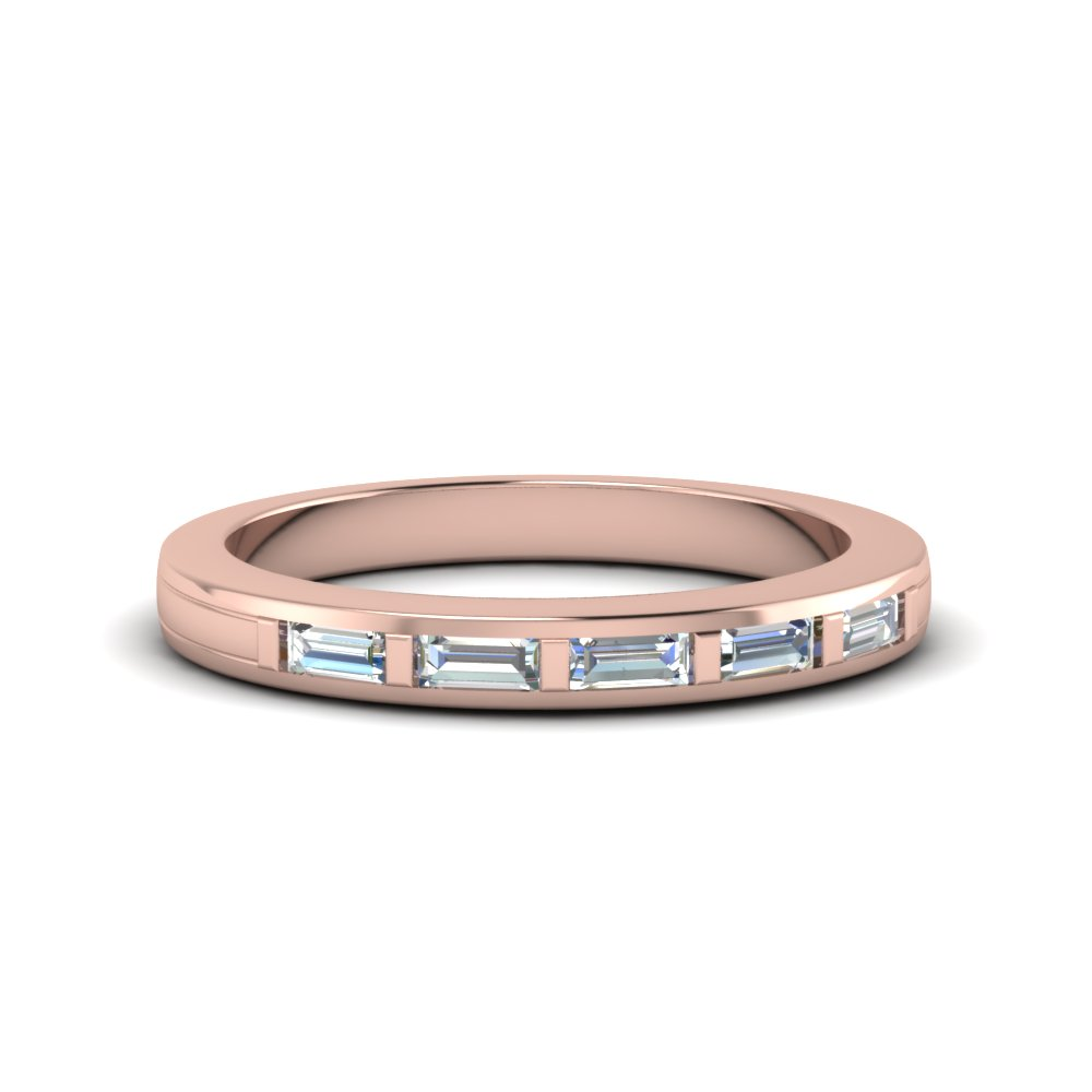 baguette diamond wedding band in 14K rose gold FDENS218B NL RG