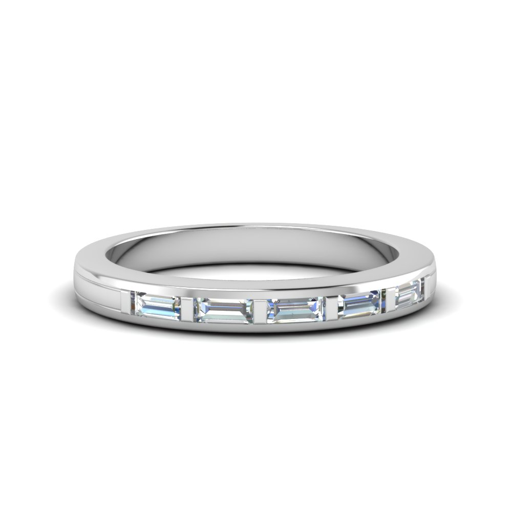 18K White Gold Thin Baguette Band