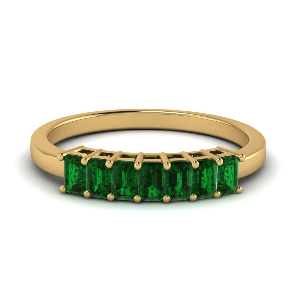 baguette emerald vintage wedding band in 14K yellow gold FD9294SBGEMGR NL YG GS