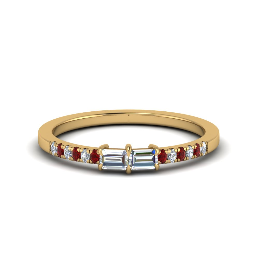 Baguette With Pave Ruby Ring