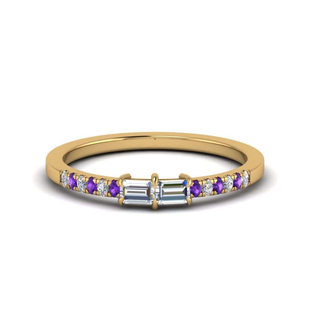 Baguette With Pave Purple Topaz Ring