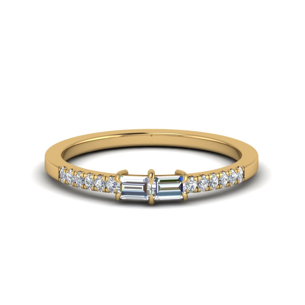 baguette with pave diamond ring in 14K yellow gold FD122196 NL YG