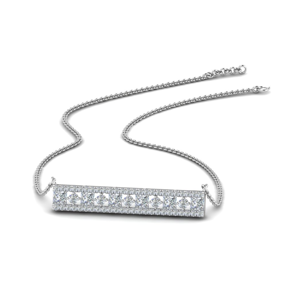 Bar 3 Row Diamond Pendant