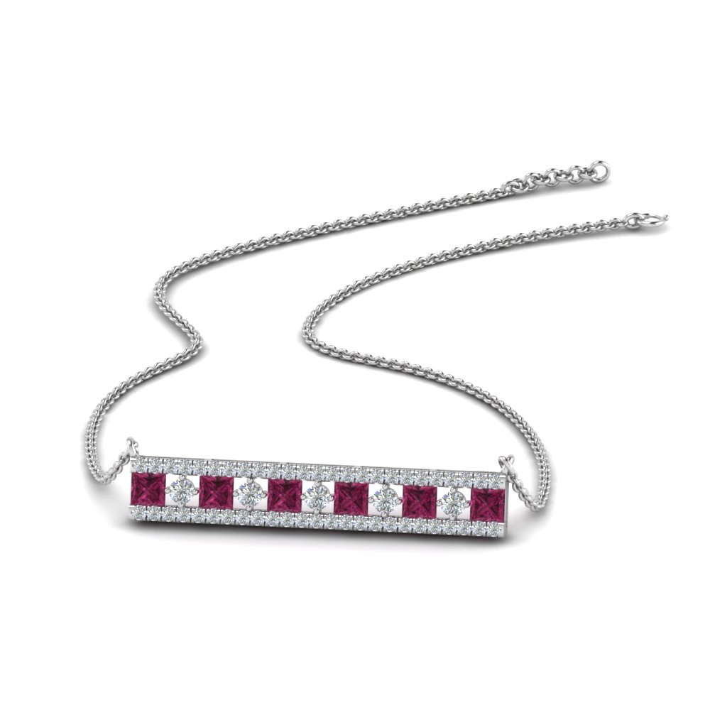 bar 3 row diamond pendant with pink sapphire in FDPD8927GSADRPI NL WG
