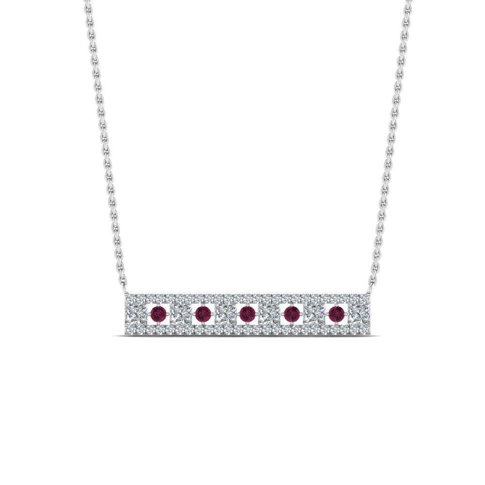 Three Row Pendant Diamond Necklace