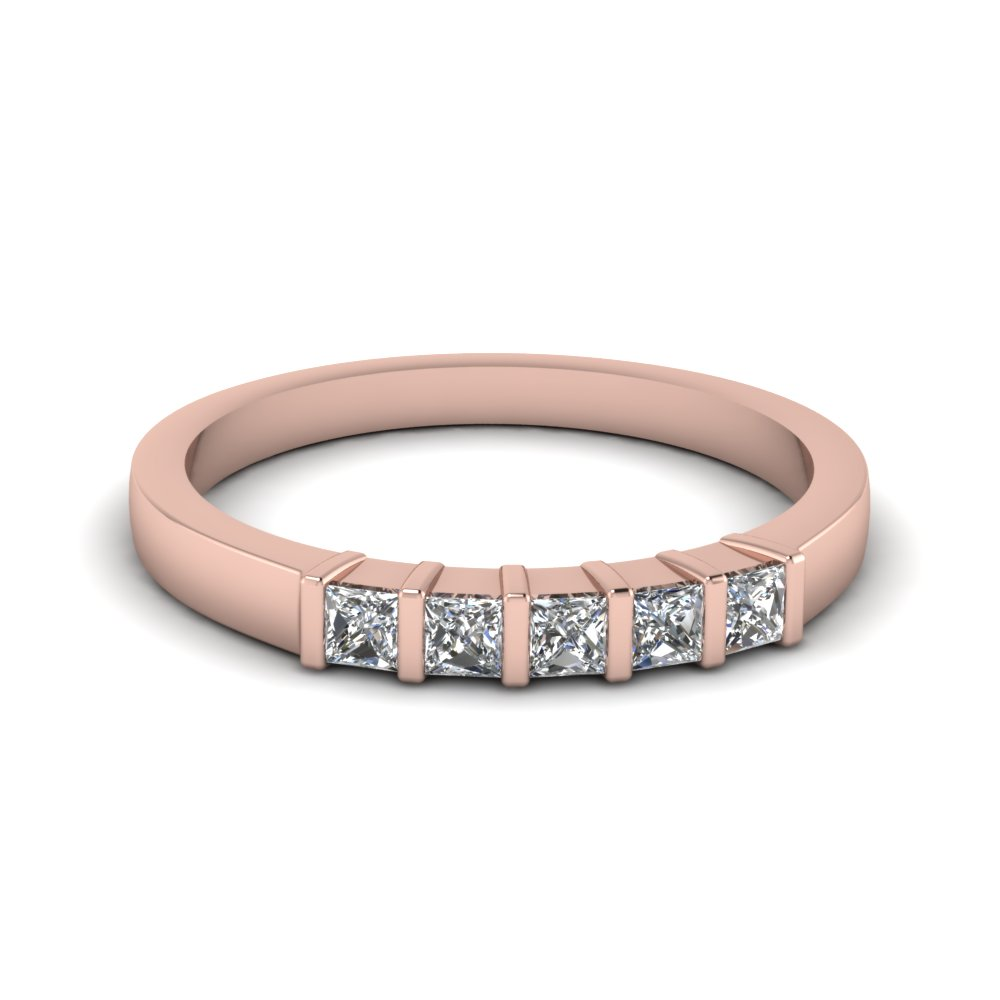bar 5 stone princess cut wedding band in 14K rose gold FDWB660B NL RG