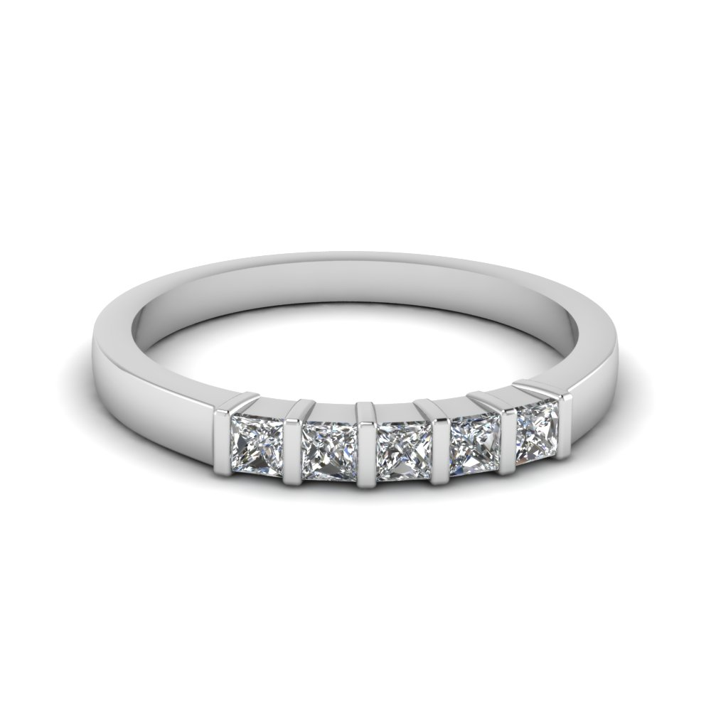 bar 5 princess cut diamond band in 14k white gold fdwb660b nl wg - White Gold Princess Cut Wedding Rings