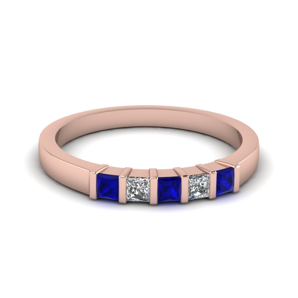 bar 5 princess cut diamond band with blue sapphire in 14K rose gold FDWB660BGSABL NL RG