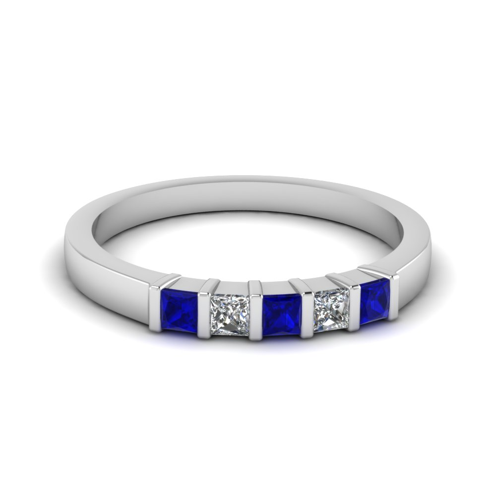 bar 5 princess cut diamond band with blue sapphire in 14K white gold FDWB660BGSABL NL WG