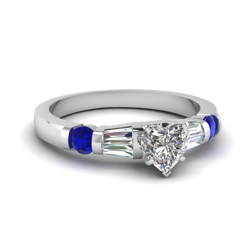 bar accent 1.25 ct. heart shaped engagement diamond ring with blue sapphire in FDENS290HTRGSABL NL WG