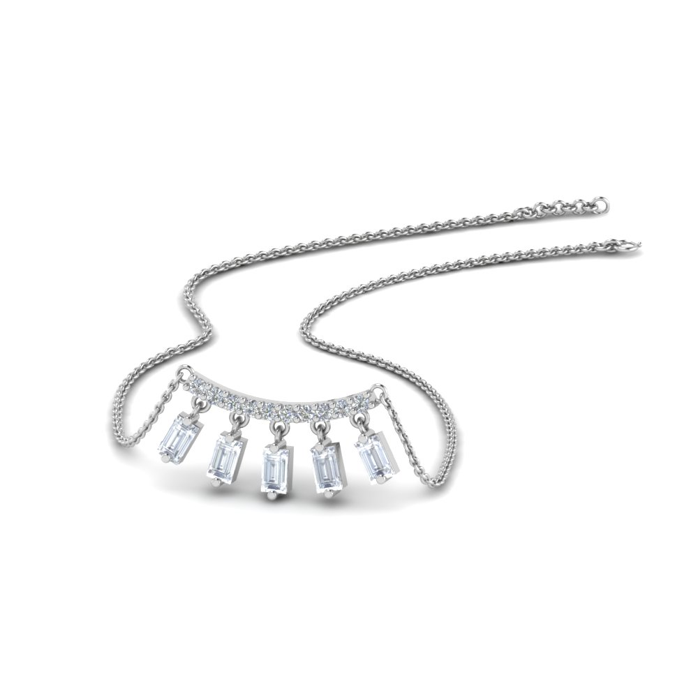 Bar Baguette Curved Necklace Pendant