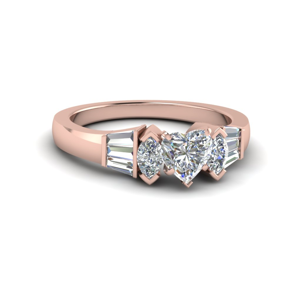 bar baguette with heart shaped diamond engagement ring in 14K rose gold FDENR1120HTR NL RG