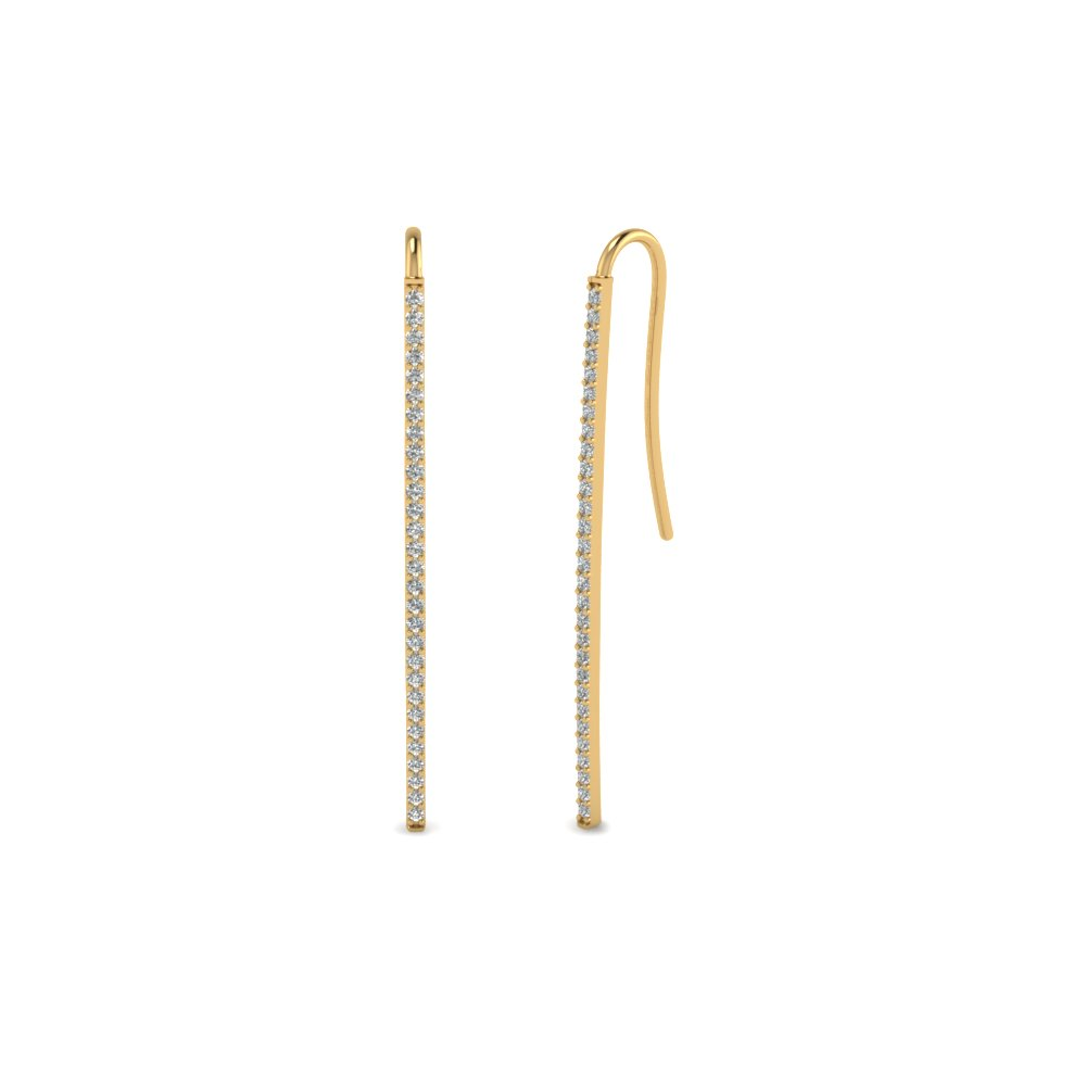 Straight Bar Diamond Dangle Earring