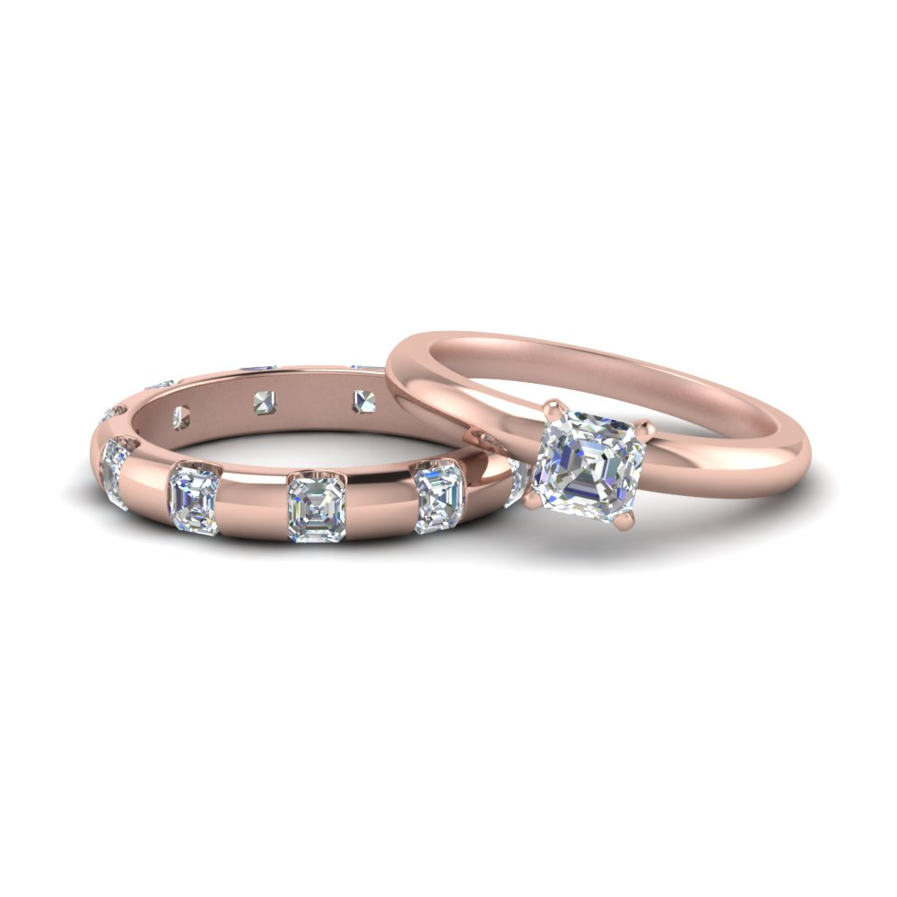 bar set asscher diamond bridal set in 14K rose gold FD9080AS NL RG
