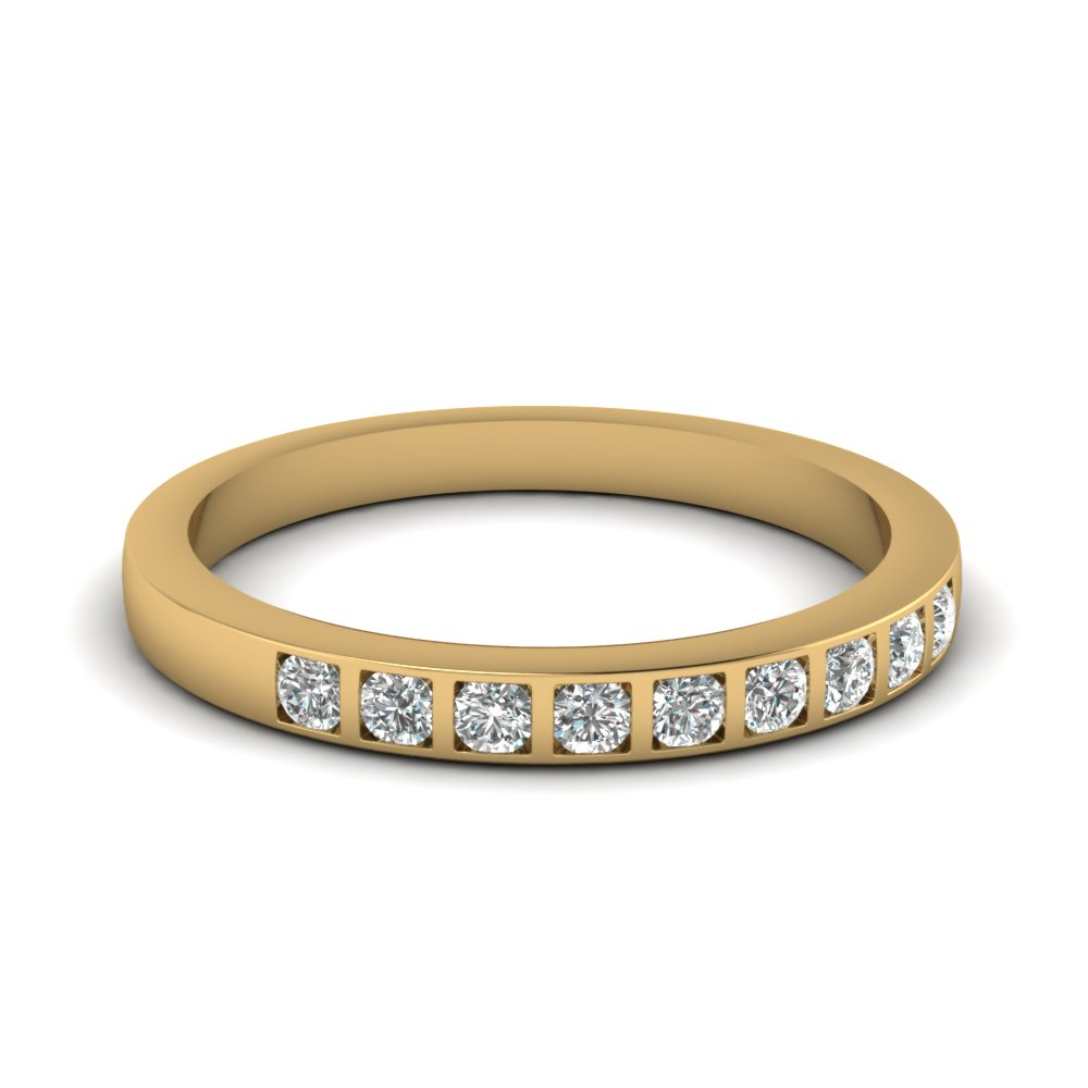 bar set diamond wedding ring for women in 14K yellow gold FD63018B NL YG